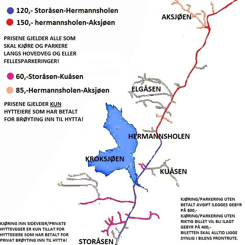 Kjøretakster for kjøring på Birkebeinerveien 2013/2014